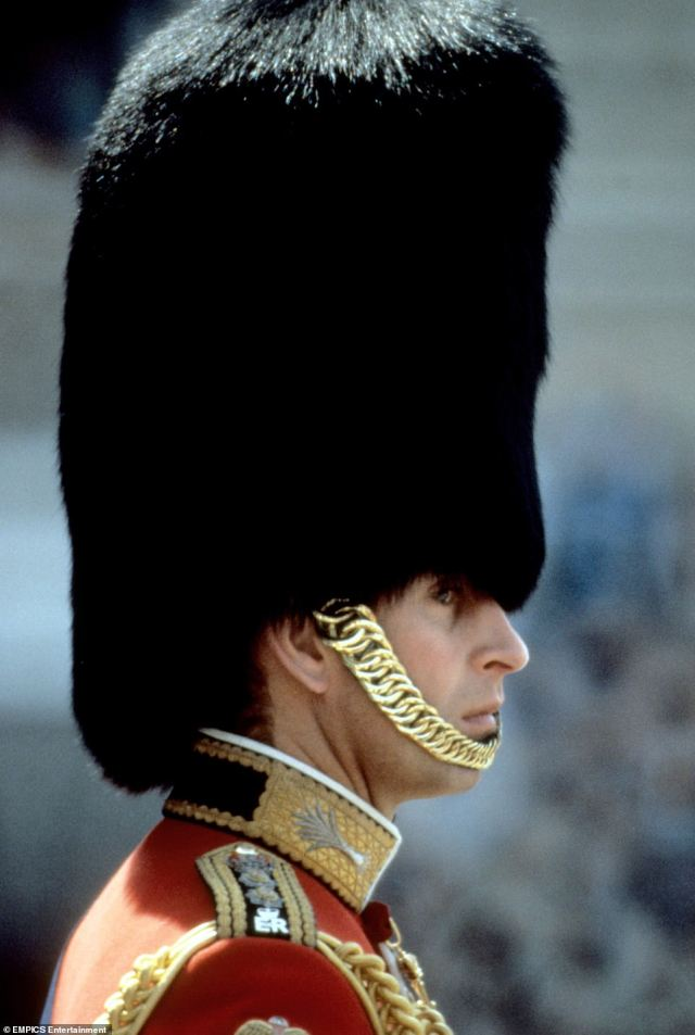 1978 — FOLLOWING TRADITION: Prince Charles wore a a Bearskin Hat at the 1978 Trooping the Colour and joined the parade as Colonel of the Welsh Guards.