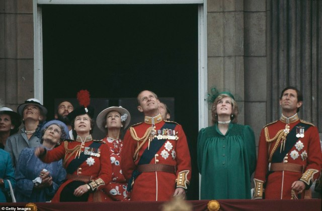 1982 — A PREGNANT PRINCESS:The Royal Family on the balcony of Buckingham Palace during the Trooping the Colour ceremony in June 1982. Diana, Princess of Wales was heavily pregnant with Prince William at the time, and gave birth to him a few short weeks later.
