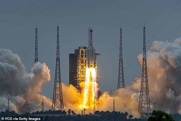 Tianhe was launched from the Wenchang Space Launch Centre on the southern island of Hainan, China on the Long March 5B, China's largest carrier rocket on April 29 (pictured)