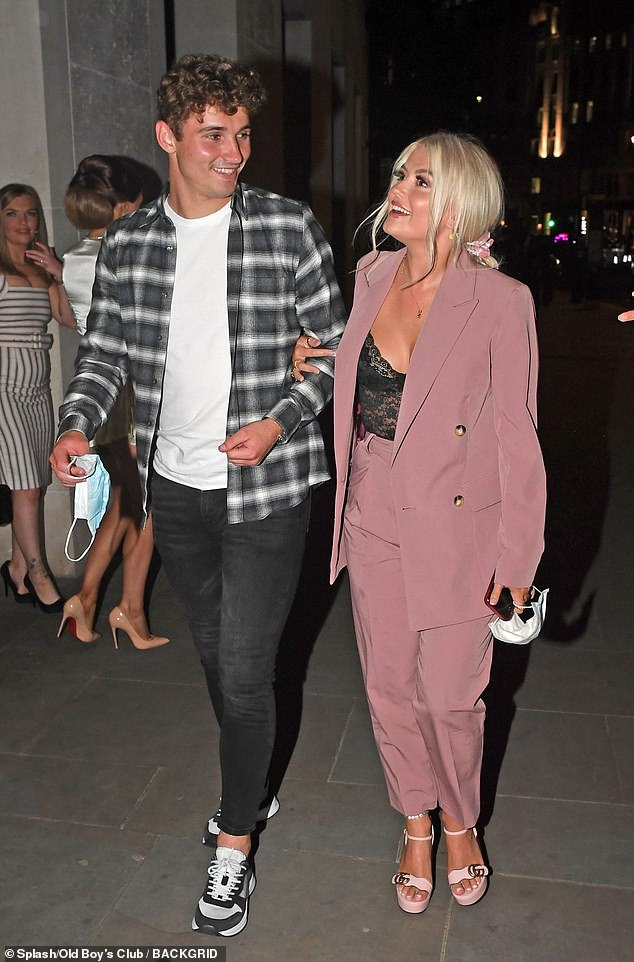 New couple:Lucy Fallon looked completely loved-up as she stepped out with her new footballer beau Ryan Ledson, 23, for the first time on Wednesday