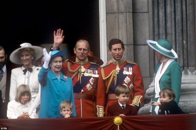1988 — GOOD AFTERNOON BRITAIN: The Royal family watch the Trooping the Colour from the balcony of Buckingham Palace. Left to right; Princess Michael of Kent with her daughter Lady Gabriella Windsor, the Queen, Duke of Edinburgh, Prince of Wales, and Princess of Wales. Foreground; Prince Harry, Prince William and the Earl of Ulster.