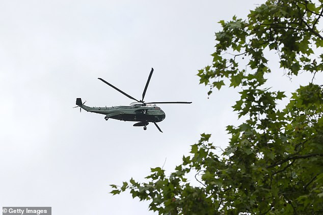 The aircraft was seen over the capital while Mr Biden and his wife Jill met with Boris and Carrie Johnson in Carbis Bay, Cornwall