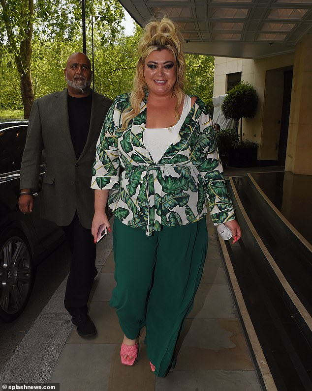 Vibrant:Gemma contrasted tastefully with pink textured mules which complemented her coral manicure