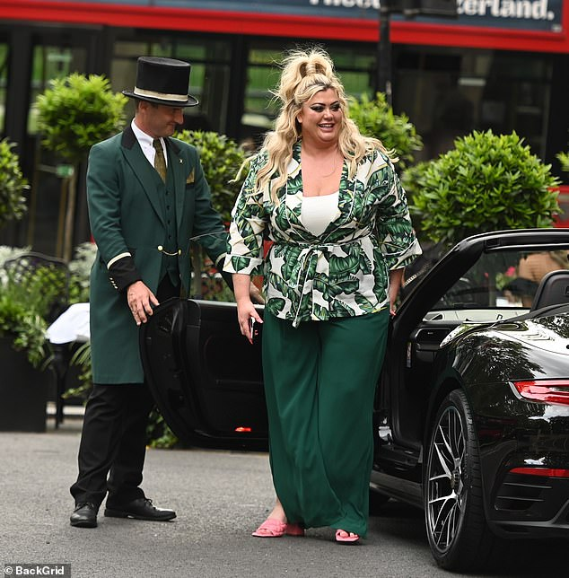 New wheels:Before dinner, the former TOWIE star went for a spin in her brother Russell's new Porsche