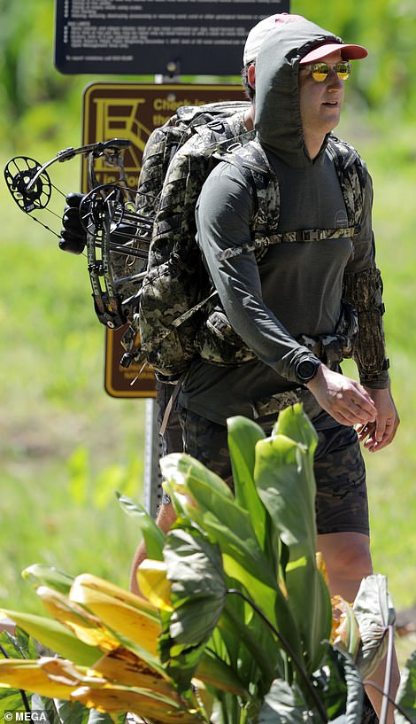 Zuckerberg seemed up for the challenge in his camouflage gear. He carried his weaponry on his back, in a backpack tied round his waist