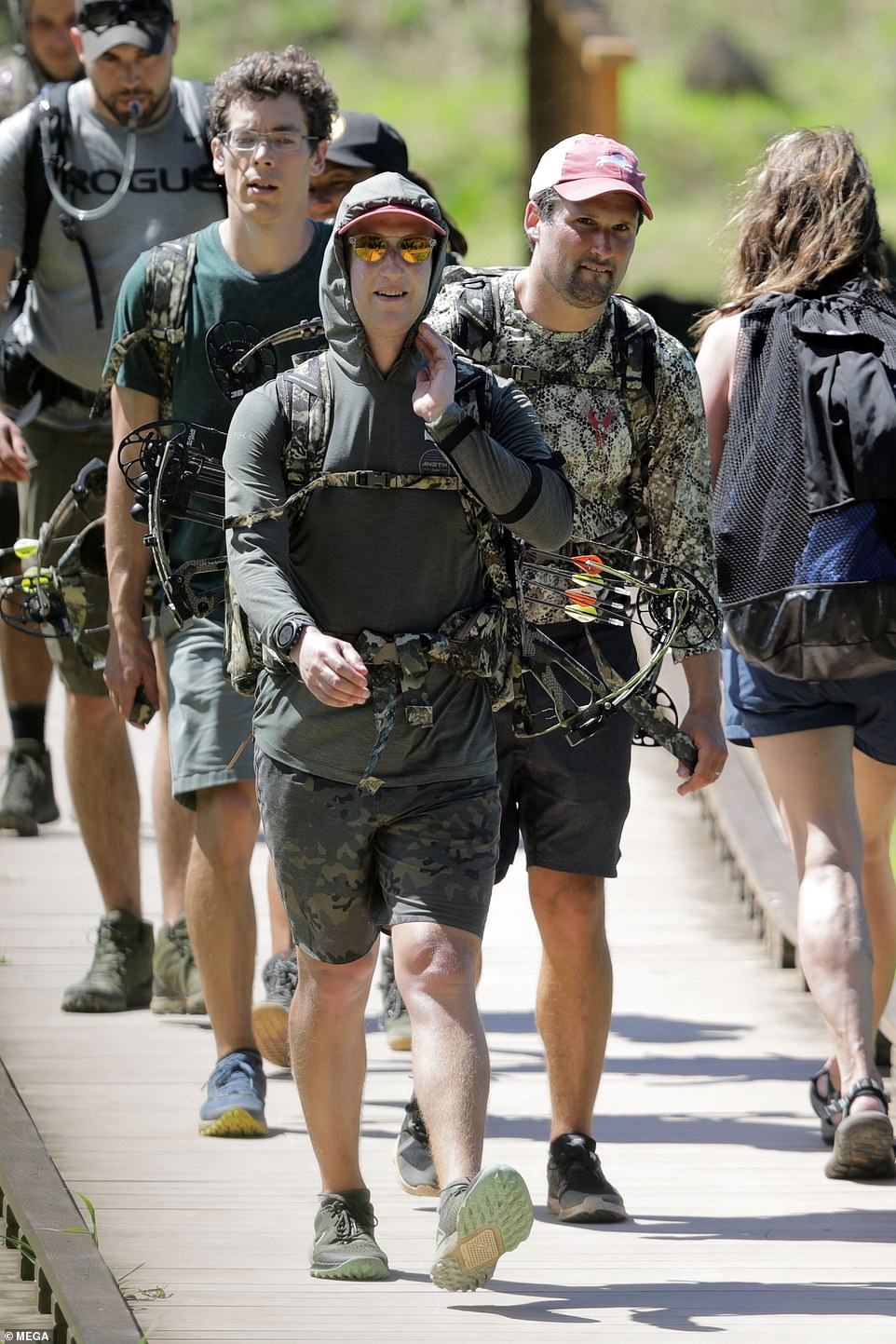 Zuckerberg and his friends looked ready for action as they set off on the 11-mile trail