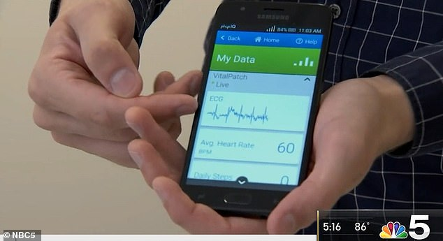 A sensor worn on the chest will track patients' vital signs including oxygen levels and heart rates that is connected to a smartphone via Bluetooth (Courtesy of NBC5)