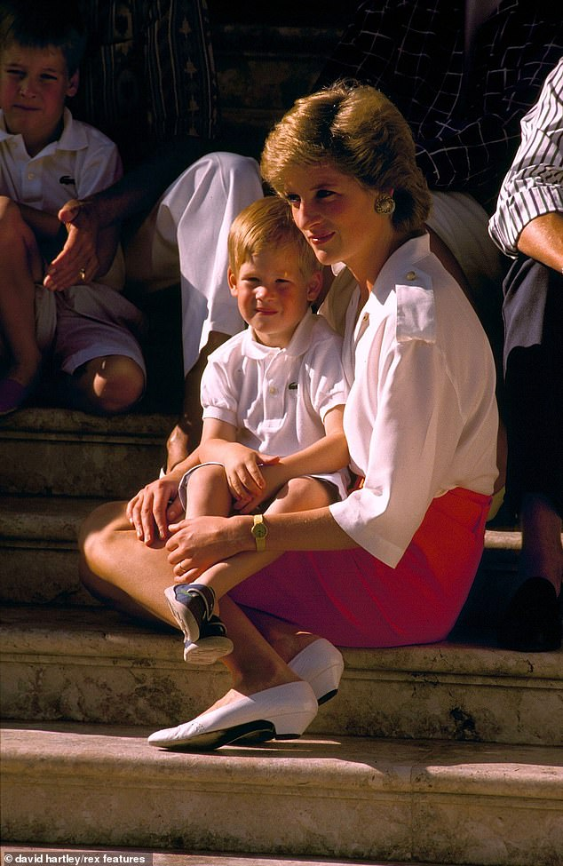 A source said: 'They're determined to cast the right actor and are considering taking any steps necessary to make him look the part' (Harry and Princess Diana pictured in 1988)