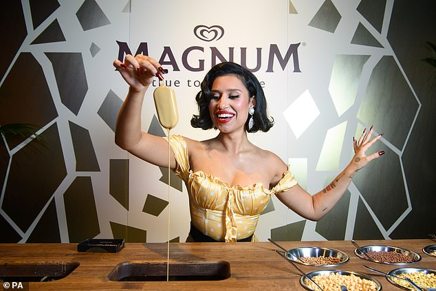 Sweet treat:Raye worked her best angles during her performance of Call On Me, before indulging in a customised Magnum ice cream