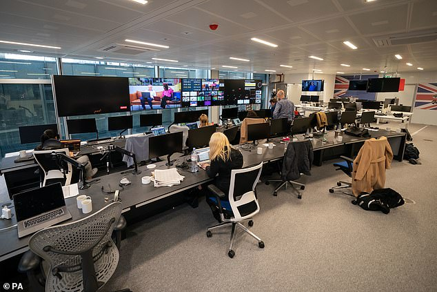 Pictured: Computers and TV monitors from the offices of GB News which is under construction