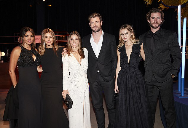 Hollywood A-list: A who's who of entertainment, business and politics attended Australia's most exclusive charity event at Sydney Airport on Thursday night. Pictured (left to right): Lucciana Barroso, Lauren Phillips, Elsa Pataky, Chris Hemsworth, Gabriella Brooks and Liam Hemsworth