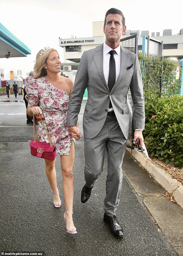 Mr Roberts-Smith is pictured with his new girlfriend Sarah Matulin attending the Magic Millions races together on the Queensland Gold Coast in January this year