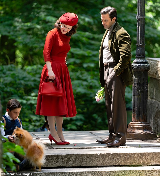 Pampered pup: The two-time SAG Award winner and the Emmy winner were also joined on the set by an adorable Pomeranian, who appeared to be his character's pet