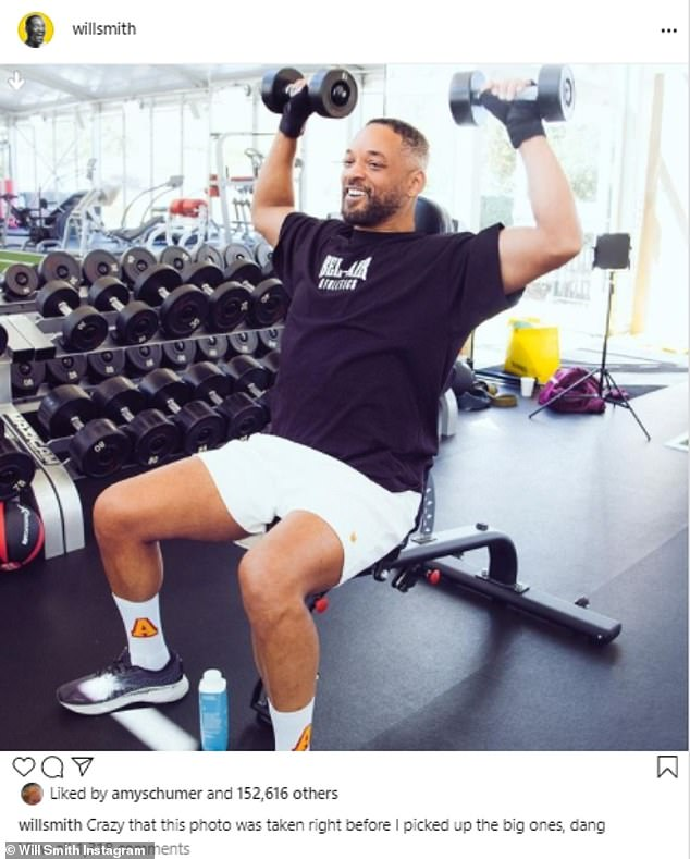 Having a laugh: Despite his intense workouts, his captions are always full of laughs