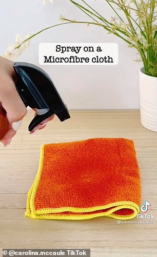 She combined one part vinegar and one part water in a bottle and sprayed the liquid onto a microfibre cloth to polish her coffee machine