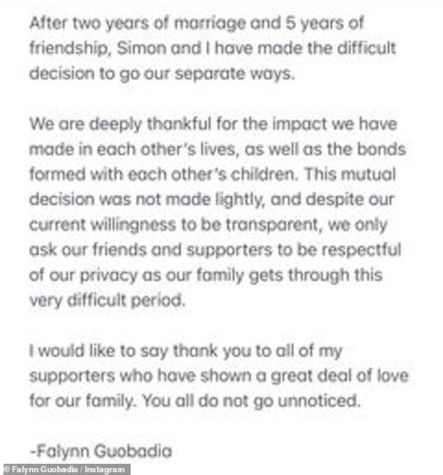 Separate ways: 'After two years of marriage and 5 years of friendship, Simon and I have made the difficult decision to go our separate ways,' the reality television personality began a lengthy announcement on her Instagram Story back on April 22