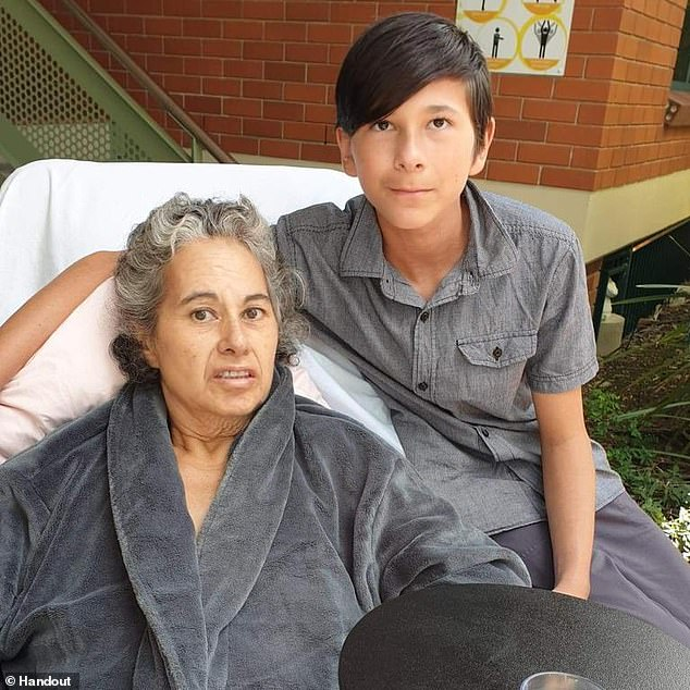 Tragic Bailey Pini, 13, who died in a horror fireball when he crashed a stolen car into a tree on Wednesday was nursing a broken heart after cancer killed his mother, Sonia, 54 (pictured)