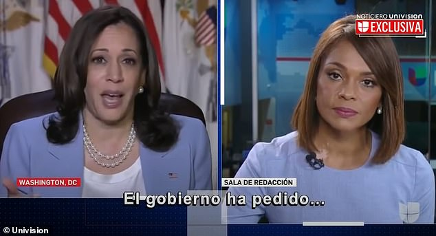 Harris on Thursday spoke to Univision reporter Ilia Calderon, who grilled her about when she would be visiting the U.S.-Mexico border to see the migrant situation with her own eyes. A visibly irritated Harris snapped at her for interrupting her, to press her on the question