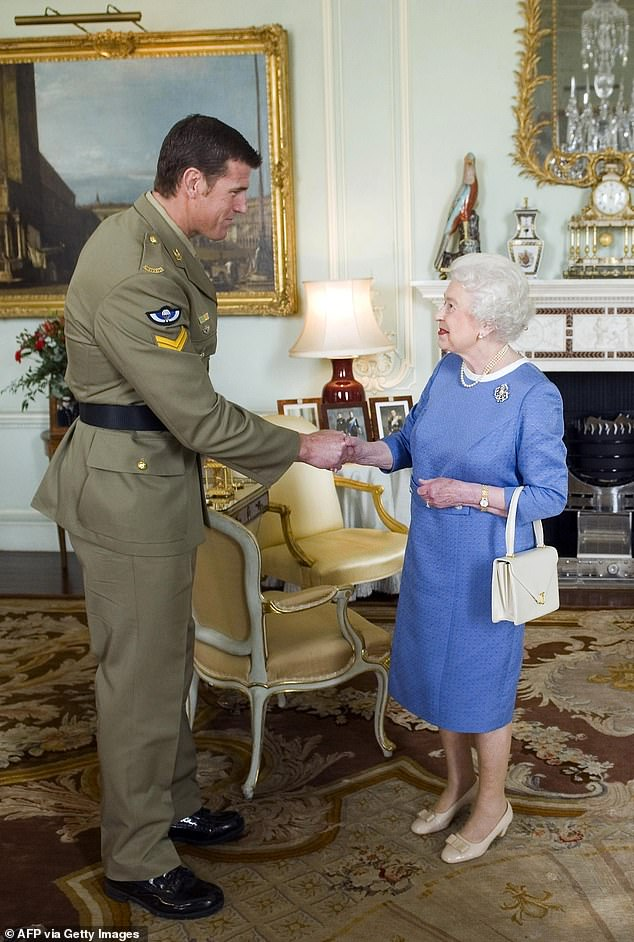 Roberts-Smith is suing three newspapers and three journalists over allegations which include that he murdered prisoners. While his version of various engagements will be contested, there can be no doubt he displayed extraordinary heroism in battle. He is pictured with the Queen
