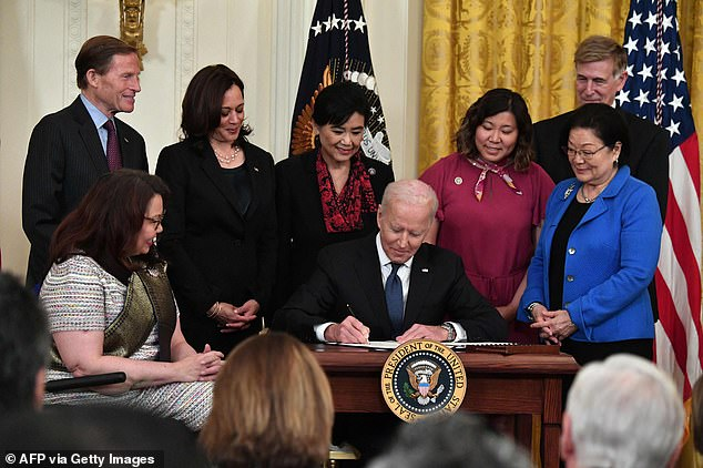 Signed:Last month, President Joe Biden slammed the 'ugly poison' of racism that's 'plagued' the United States and then signed the anti-Asian hate crime bill at the White House