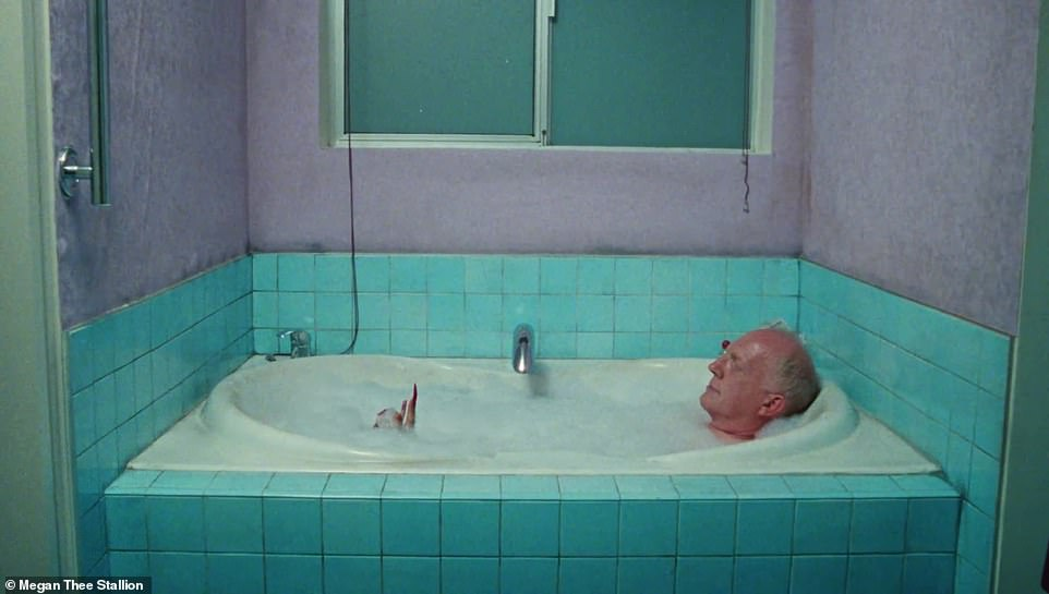 Winding down: Cut to the Senator's hotel room, where he can be seen winding down for the day in the tub