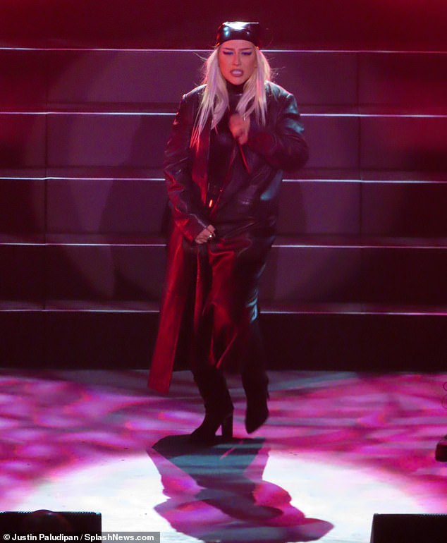 Opening night: Christina was performing in Virgin Hotels' brand new live music venue at this Las Vegas site
