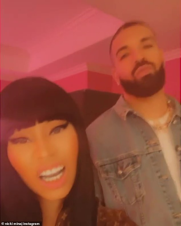 Friends in high places: Nicki enlisted the help of celebrity pal Drake, 34, to promote her latest musical offering in a video shared on social media on Friday