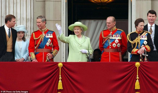 2002 — THE GOLDEN JUBILEE:The Queen and the rest of the Royal Family celebrate a special milestone in her Golden Jubilee year with her 50th Trooping the Colour ceremony. This is the first ceremony of the Queen's reign without her mother, who passed away on March 30, 2002 aged 101.