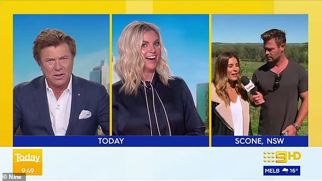 Surprise guest! Back in September, Lauren surprised Weekend Today hosts Richard Wilkins (left) and Rebecca Maddern (centre) with a special appearance by Chris Hemsworth in the New South Wales town of Scone