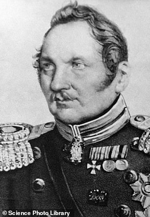 Pipped to the post? It has long been thought the first person to discover Antarctica was Russian explorer Fabian von Bellingshausen (pictured), beating British naval officer Edward Bransfield by three days in 1820