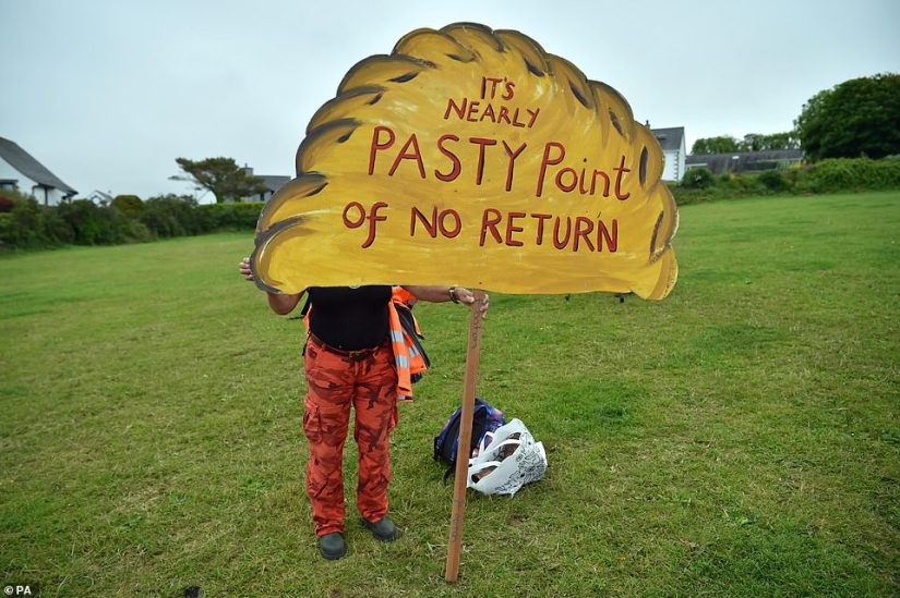 One hilarious sign in St Ives was in the shape of a pasty and read 'It's nearly pasty point of no return'