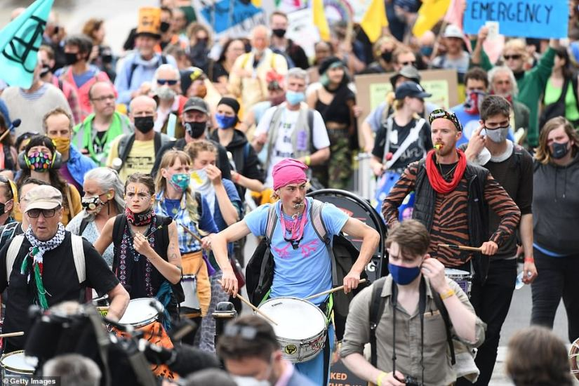 Drummers helped keep the atmosphere upbeat as protesters marched through St Ives on Friday morning