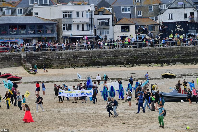 Protesters took over the promenade as well as the beach itself as the march ended in the centre of St Ives