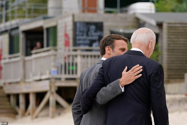 MACRON 'DISAGREEING' WITH BIDEN: 'Biden has his body close to him as he is a very tactile man. His posture is tilted towards Macron while Macron's is not. He is faxing forward, head down and his hands in his pockets. I'm not sure Macron is in total agreement our what is being presented to him by Biden'