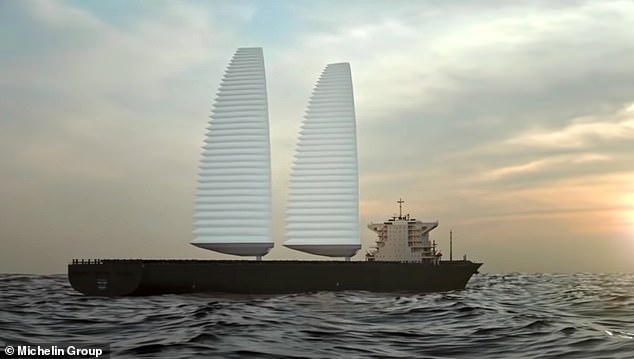Michelin's newWing Sail Mobility system includes inflatable sails that can be fitted to cargo ships and quickly deploy to take advantage of strong winds