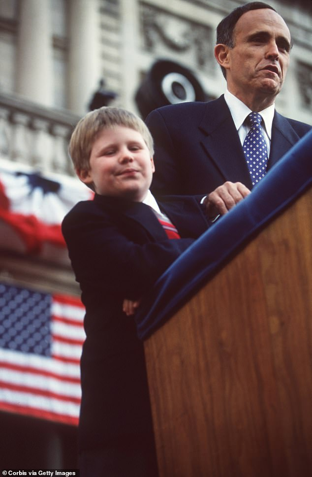 Rudolph Giuliani is inaugurated as Mayor of New York City with his son Andrew by his side in 1994