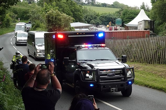 President Biden's 18-car convoy swept into the venue in Cornwall five minutes after the Queen arrived with the Duke and Duchess of Cambridge and Prince Charles and Camilla