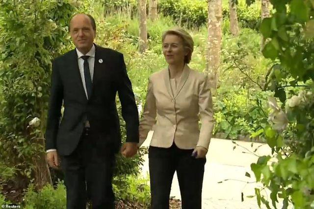 European Commission President Ursula von der Leyen and her husband Heiko were also seen arriving
