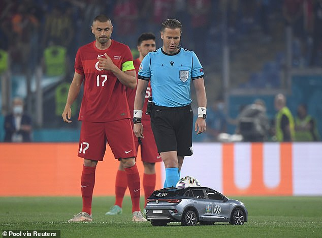 Social media went into meltdown when the ball for the Euro 2020 opener arrived in a small car