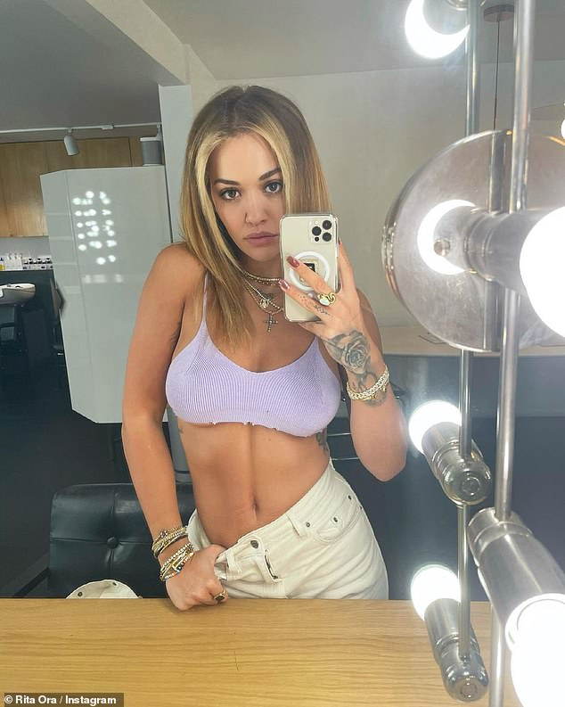 Sultry: The singer shared a series of sultry snaps which gave her 16million followers an insight into her week, including one in a tiny purple crop top