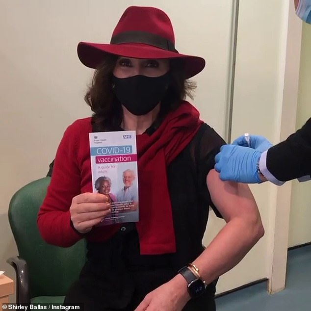 Ill:The Strictly judge, 60, contracted the virus in March this year, shortly after having her first vaccination, and was left bedbound for two weeks as a result (pictured getting her vaccine)