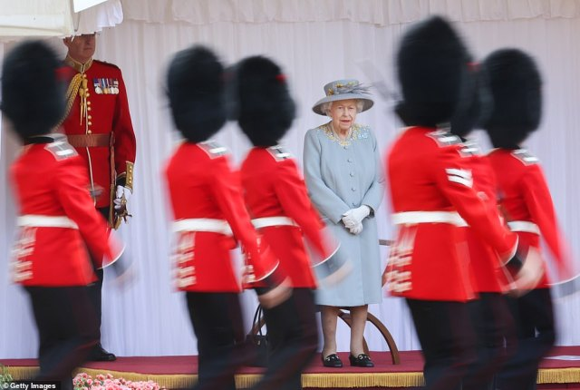 The playing of the national anthem as a royal salute was given by soldiers signalled the start of the ceremony and the Massed Bands marched past first in slow then quick time