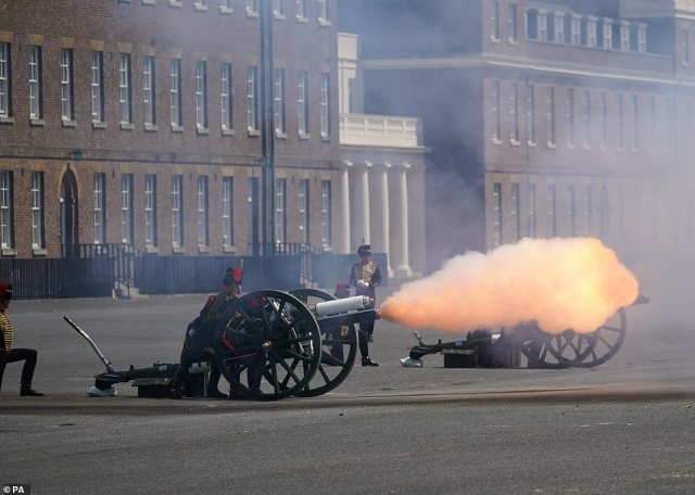 The King's Troop Royal Horse Artillery fire a 21 Gun Salute at Royal Artillery Barracks in Woolwich