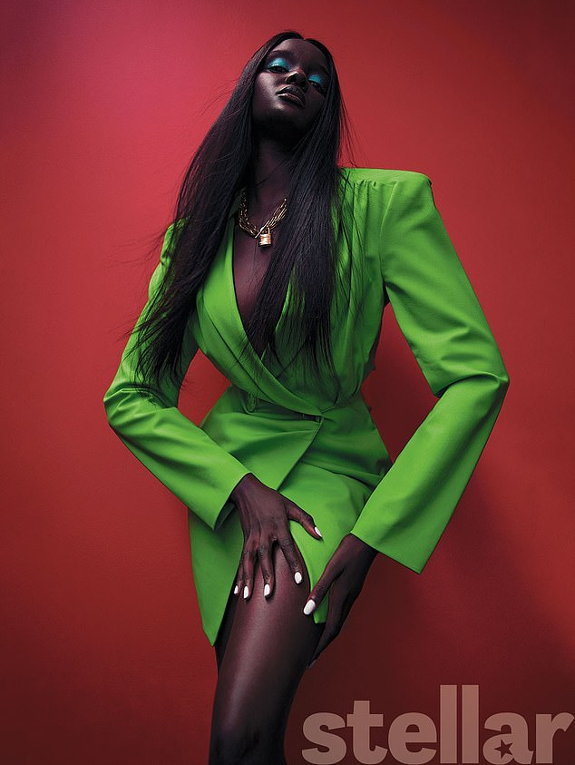 Fame: ModelDuckie Thot (pictured) reveals how she reacted afterNicki Minaj complimented her on Instagram - with the comment going viral. Pictured in Stellar Magazine