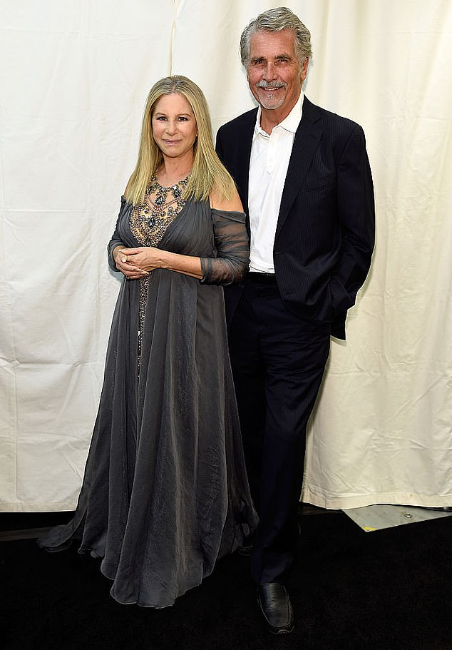 Making changes: Brolin concluded by speaking about how Streisand has changed his personality for the better, as he noted that 'she's got me in line now and I love every minute of it'; they are seen in 2016