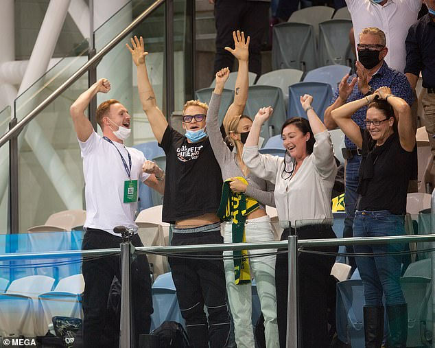 Showing their support!  Cody Simpson and girlfriend Marloes Stevens cheered on swimmers at the 2021 Olympic Swimming Trials in Adelaide on Saturday