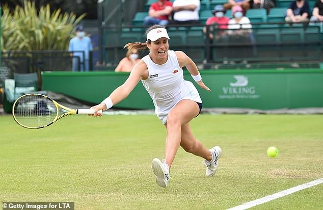 Jo Konta reached the final at Nottingham after beating Nina Stojanovic in three sets
