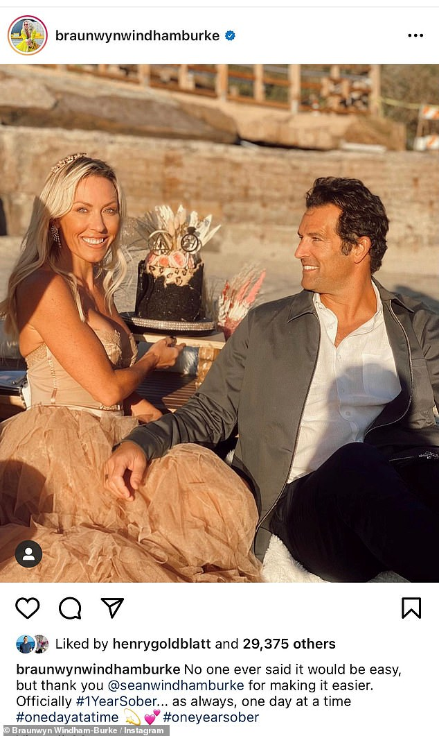 Another milestone: The reality TV star also took to Instagram to celebrate one year of abstinence by posting a photo of herself and her husband Sean Burke on January 30, 2021