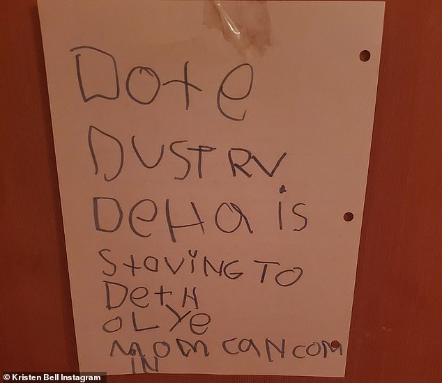 Being direct: The first of the youngster's notes bluntly read 'Don't disturb, Delta is starving to death, only Mom can come in'