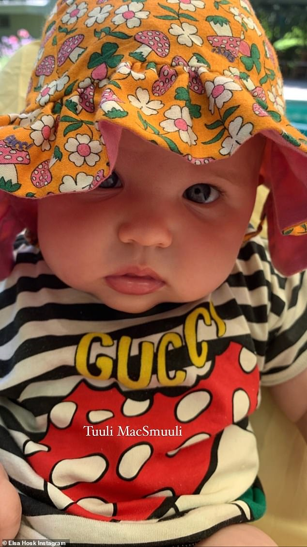 Adorable; The proud mother also shared one of her daughter's nicknames, Tuuli MacSmuuli, in a close-up photo showing their girl wearing a striped Gucci shirt and a floral hat